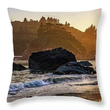 Hazy Golden Hour At Trinidad Harbor Throw Pillow