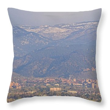 Hazy Low Cloud Morning Boulder Colorado University Scenic View  Throw Pillow by James BO  Insogna