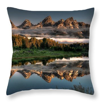Hazy Reflections At Scwabacher Landing Throw Pillow
