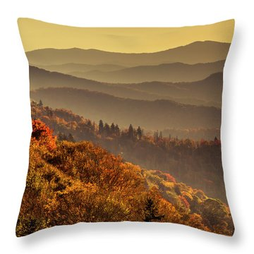 Hazy Sunny Layers In The Smoky Mountains Throw Pillow
