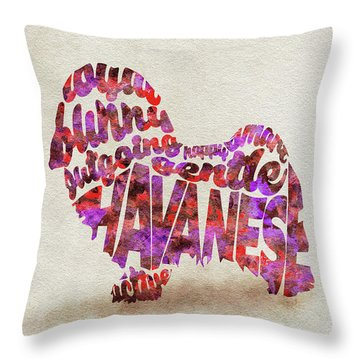 Throw Pillow featuring the painting Havanese Dog Watercolor Painting / Typographic Art by Ayse and Deniz