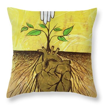 Throw Pillow featuring the painting He Cultivates Our Hearts by Nathan Rhoads