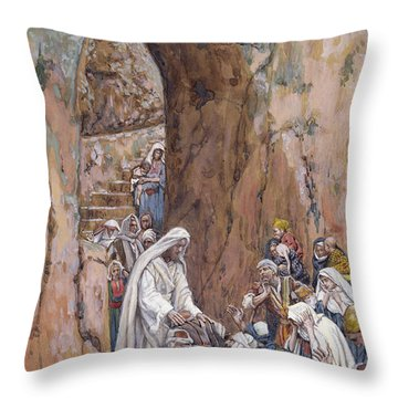 He Did No Miracles Save That He Healed Them Throw Pillow by Tissot