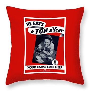He Eats A Ton A Year Throw Pillow by War Is Hell Store