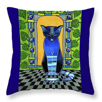 Throw Pillow featuring the painting He Is Back - Blue Cat Art by Dora Hathazi Mendes