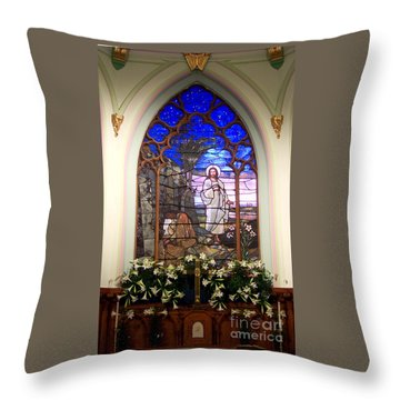 He Is Risen Stained Glass Window Throw Pillow