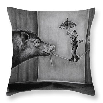 He Was Reaching The End Of His Rope Throw Pillow by Jean Cormier