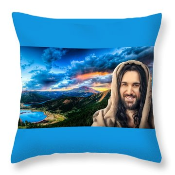 He Watches Over Me Throw Pillow by Karen Showell