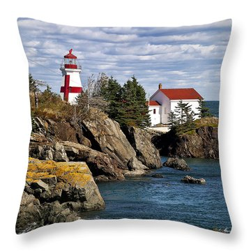 Head Harbour Lighthouse Throw Pillow by John Greim