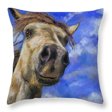 Throw Pillow featuring the pastel Head In The Clouds by Billie Colson