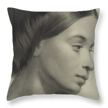 Head Of A Girl Throw Pillow by Anonymous