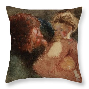 Head Of A Woman And Child Throw Pillow