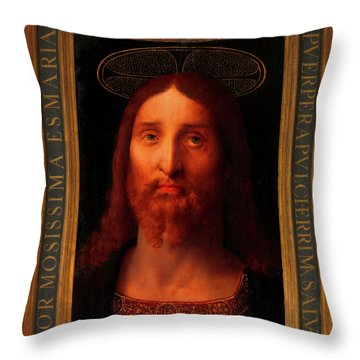 Throw Pillow featuring the painting Head Of Christ                                   by Fernando De La Almedina