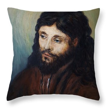 Head Of Christ After Rembrandt Throw Pillow