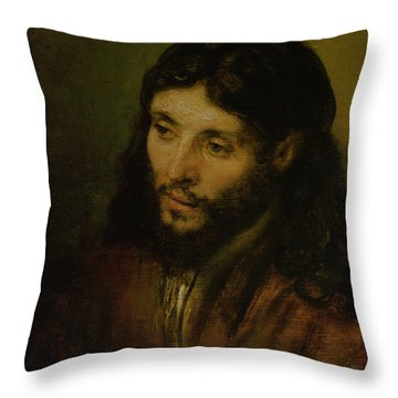 Head Of Christ Throw Pillow by Rembrandt