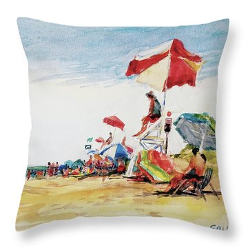 Head  Of The Meadow Beach, Afternoon Throw Pillow by Peter Salwen