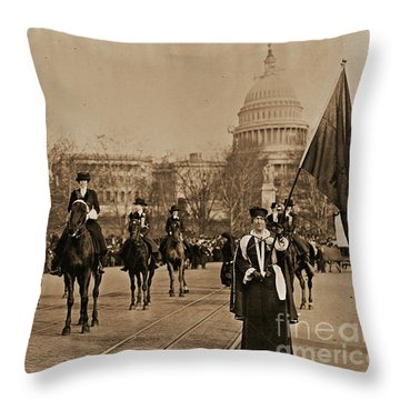 Head Of Washington D.c. Suffrage Parade Throw Pillow by Padre Art