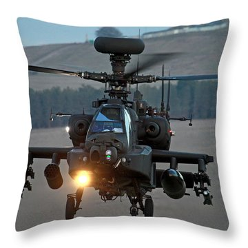 Head On Ah64 Apache Throw Pillow by Ken Brannen