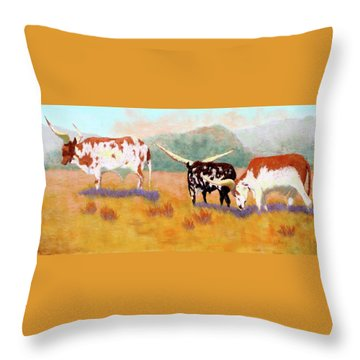 Throw Pillow featuring the painting Headed For The Barn by Nancy Jolley
