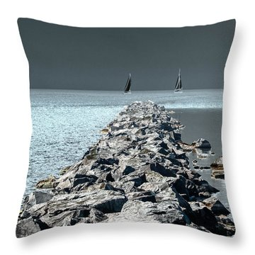 Headed For The Rocks Throw Pillow