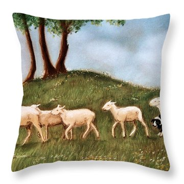 Throw Pillow featuring the pastel Headed Home by Jan Amiss