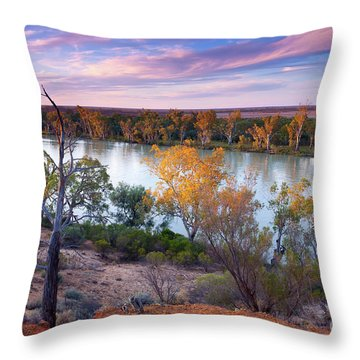 Heading Cliffs Murray River South Australia Throw Pillow