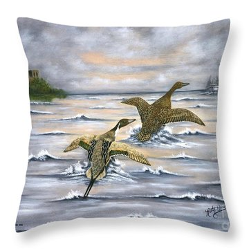 Heading For Cover Throw Pillow by Ruth Bares