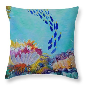 Throw Pillow featuring the painting Heading For The Coral by Lyn Olsen