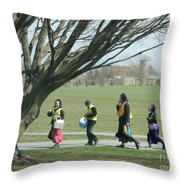 Heading Home From School Throw Pillow