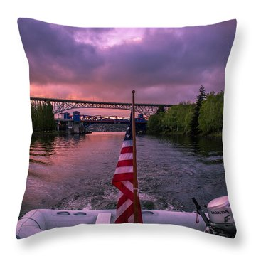 Heading Out From Lake Union Throw Pillow by Michael J Bauer