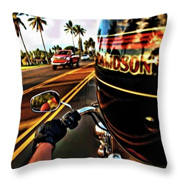 Heading Out On Harley Throw Pillow by Joan  Minchak