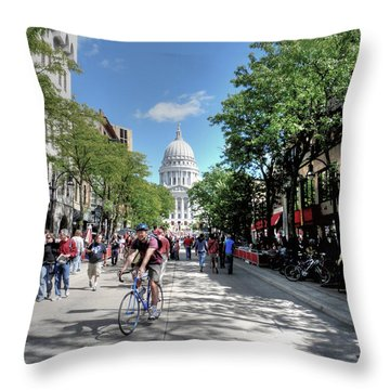 Heading To Camp Randall Throw Pillow