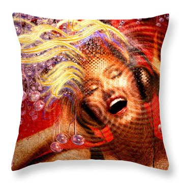 Headphones Throw Pillow by Robby Donaghey