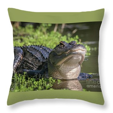 Throw Pillow featuring the photograph Heads-up Gator by Tom Claud