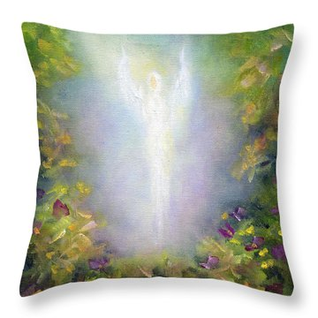 Healing Angel Throw Pillow by Marina Petro