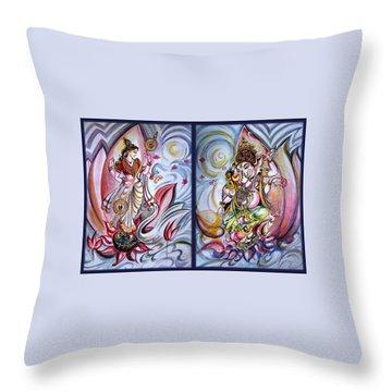 Healing Art - Musical Ganesha And Saraswati Throw Pillow