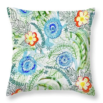 Throw Pillow featuring the painting Healing Garden by Monique Faella