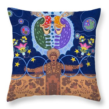 Throw Pillow featuring the painting Healing - Nanatawihowin by Chholing Taha