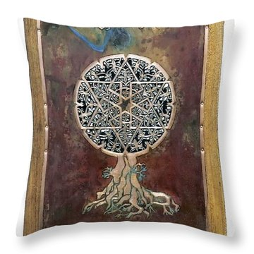 Throw Pillow featuring the mixed media Healing The Tree Of Life by Shahna Lax