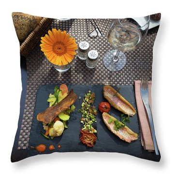 Throw Pillow featuring the photograph Health Fish Dish Served At A French Restaurant by Semmick Photo