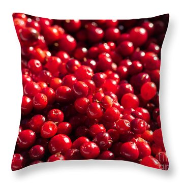 Healthy Pile Of Lingonberries Throw Pillow