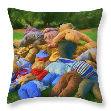 Throw Pillow featuring the photograph Heap Of Scarecrows by Nikolyn McDonald