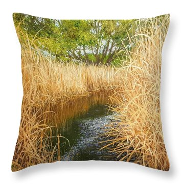 Hear The Croaking Frogs Throw Pillow