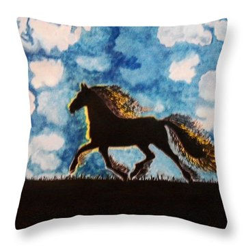 Throw Pillow featuring the painting Hearing Thunder by Connie Valasco