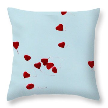 Heart Balloons In The Sky Throw Pillow