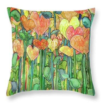 Throw Pillow featuring the mixed media Heart Bloomies 1 - Golden by Carol Cavalaris