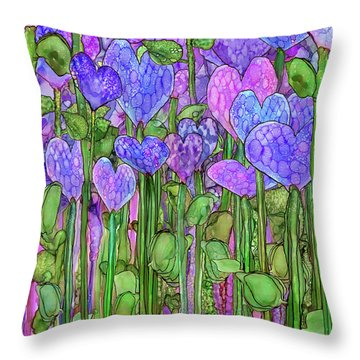 Throw Pillow featuring the mixed media Heart Bloomies 1 - Purple by Carol Cavalaris