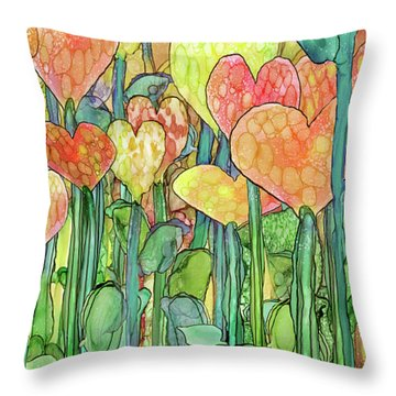 Throw Pillow featuring the mixed media Heart Bloomies 2 - Golden by Carol Cavalaris
