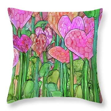 Throw Pillow featuring the mixed media Heart Bloomies 2 - Pink And Red by Carol Cavalaris