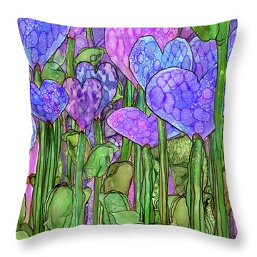 Throw Pillow featuring the mixed media Heart Bloomies 2 - Purple by Carol Cavalaris